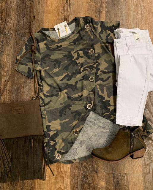 camo top with button details
