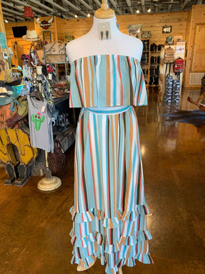 ruffle stripe strapless maxi dress