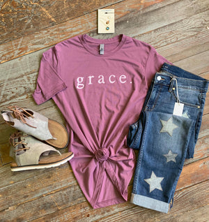 grace. tshirt on plum