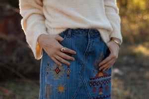 Stetson Embroidered denim mini skirt