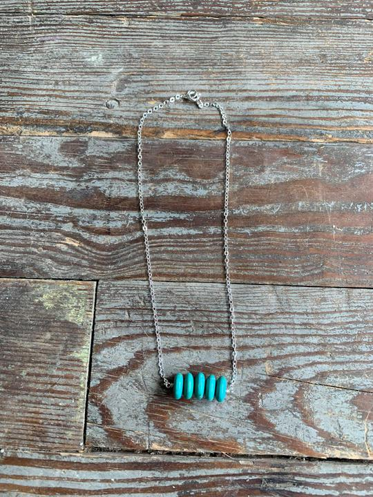 sterling necklace with 5 turquoise disks