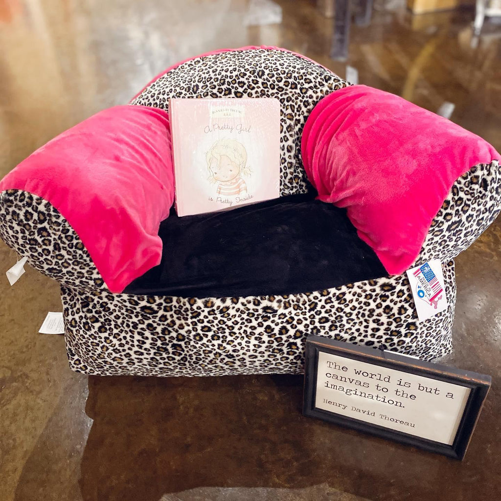 Hot Pink and Leopard Kids Plush Chair
