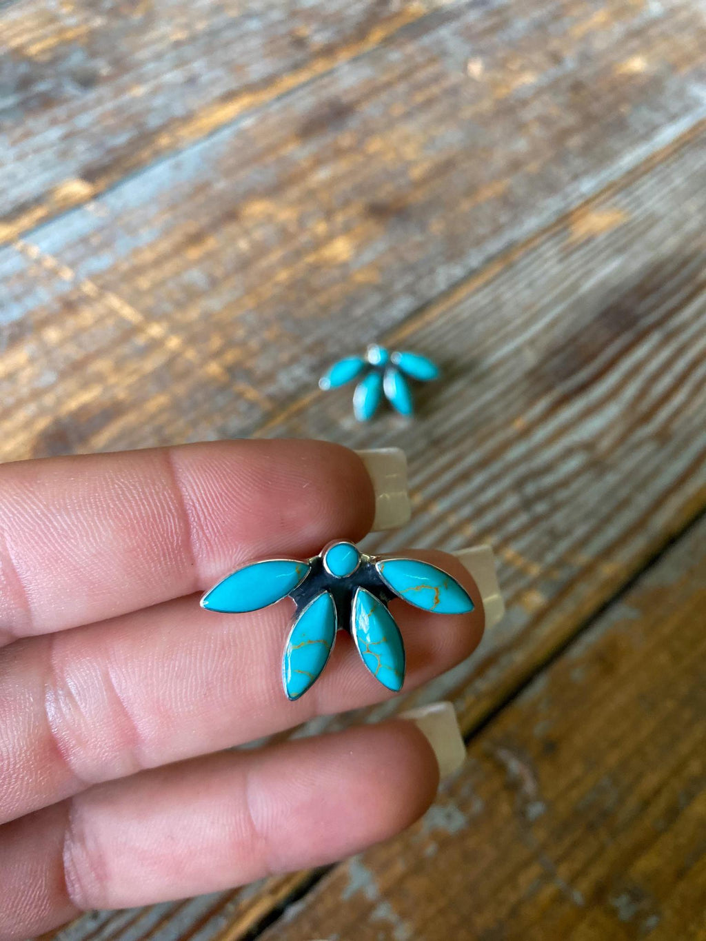 Blossom Turquoise and Sterling Stud Earrings