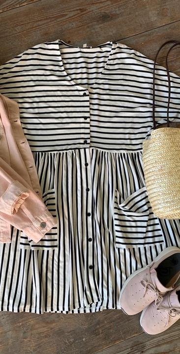 Stripe button up dress with pockets