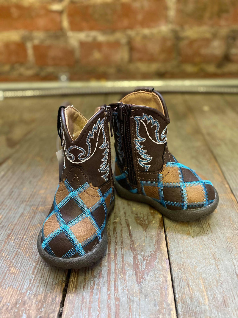 Turquoise Patchwork infant boots