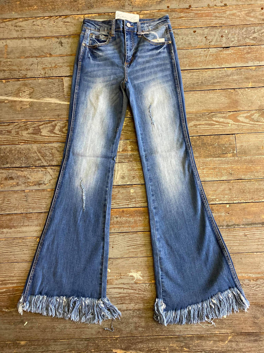 Distressed Frayed Hem Flare Jean