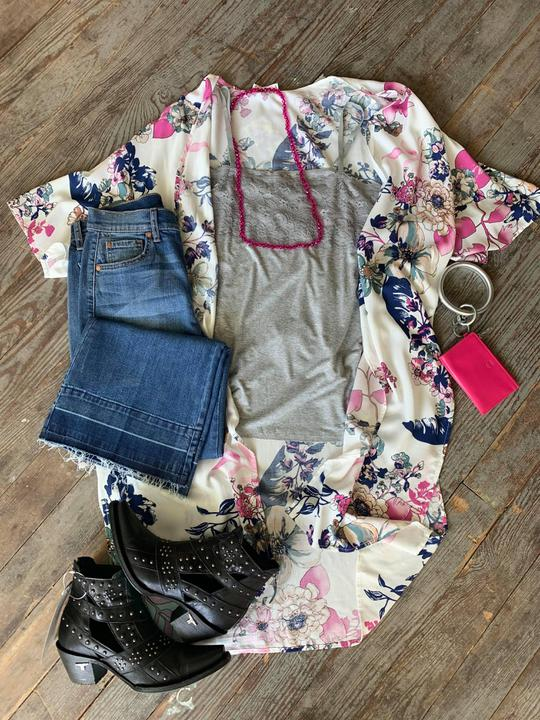 Pink and blue floral kimono