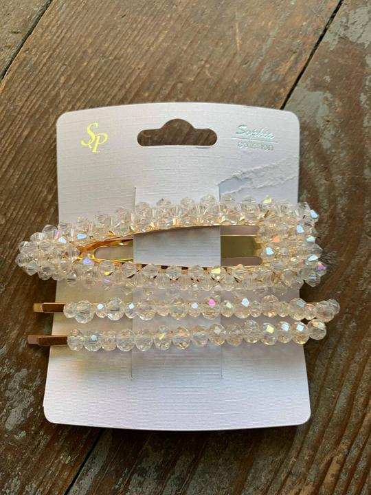 clear glass bead hair clip&pin set