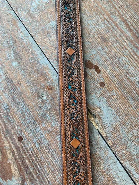 1914BE5 Turquoise Tooled Belt