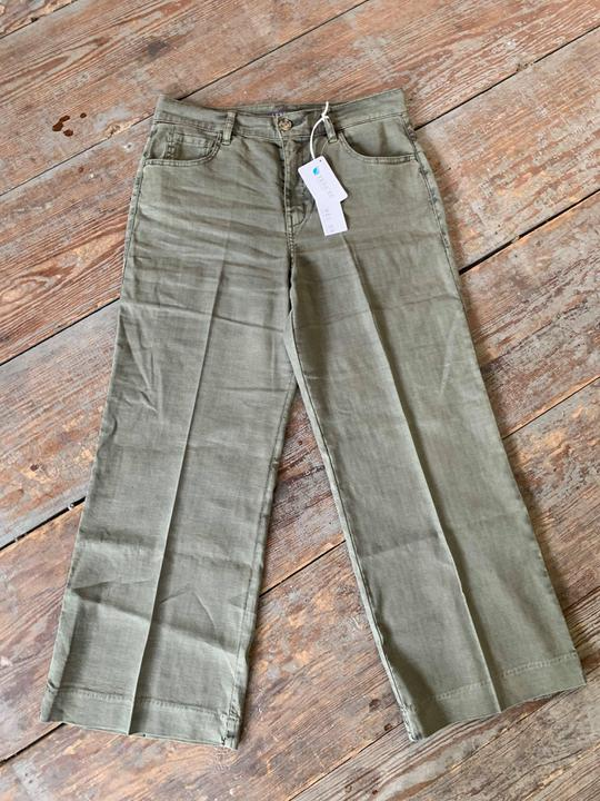 Level99 Olive cropped trouser