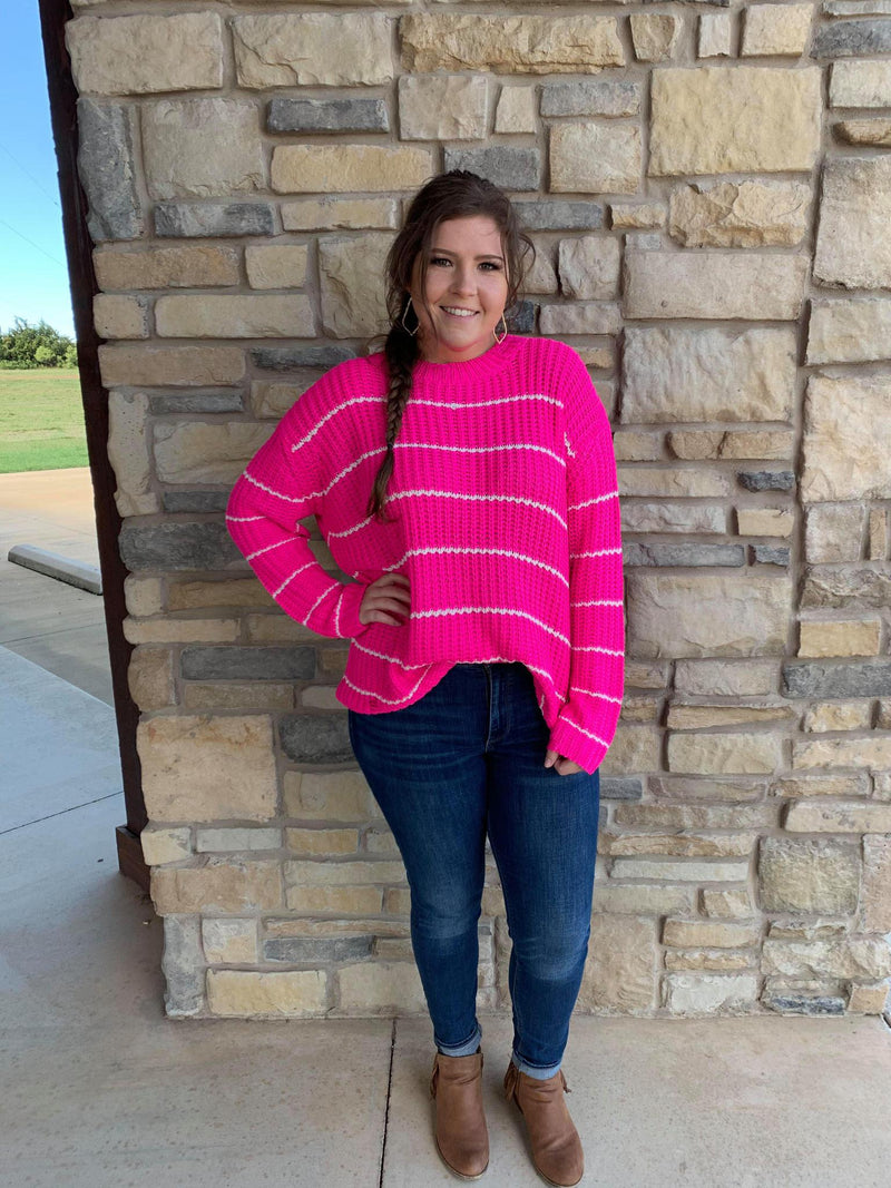 Fuchsia Distressed Stripe Sweater