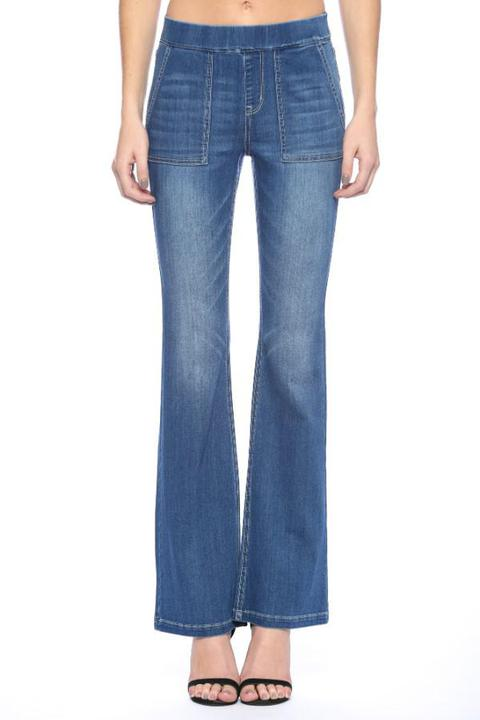 Retro Pull On Flares Medium Wash