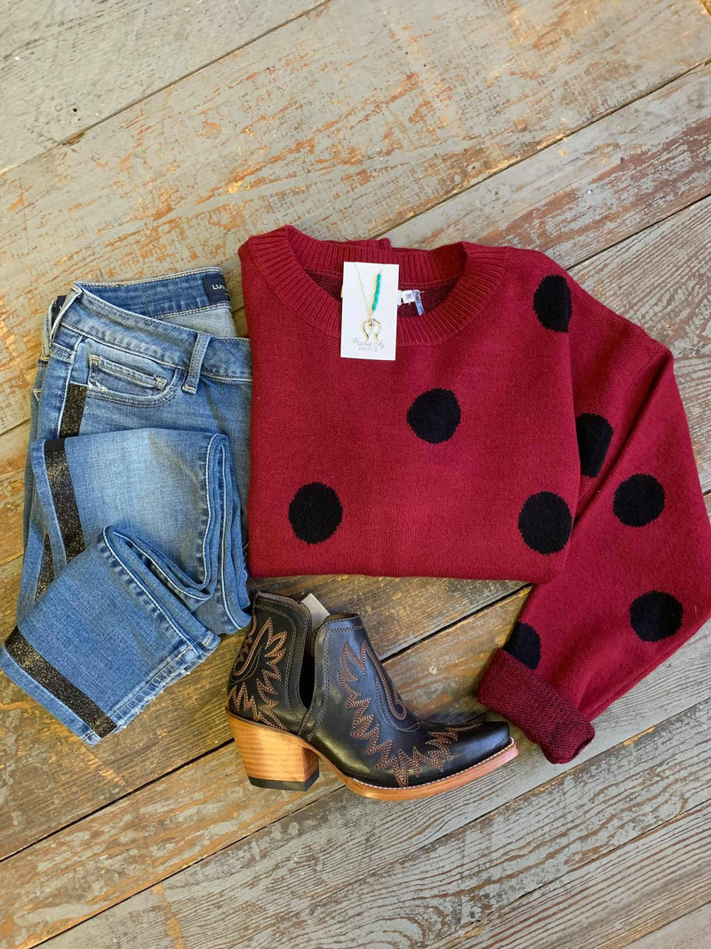 Cranberry polka dot sweater