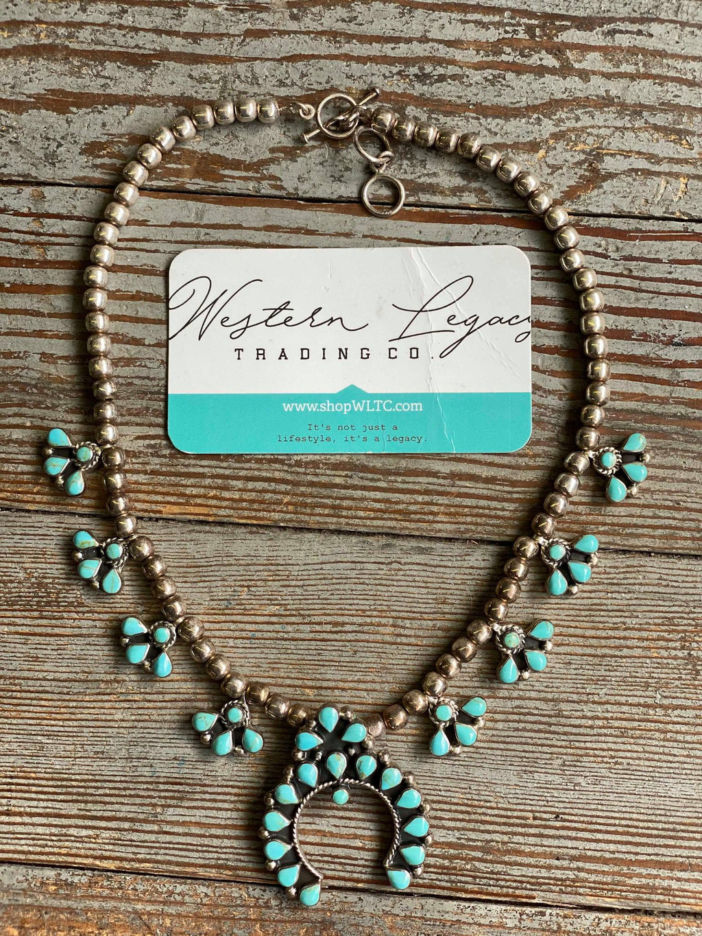 Mini Turquoise and Sterling Squash Blossom Necklace