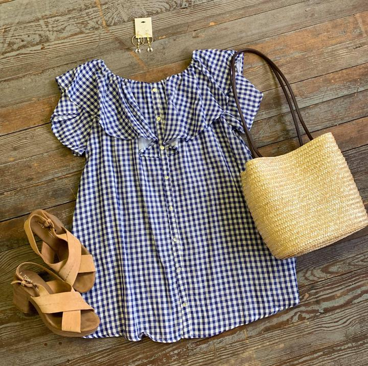 gingham button dress