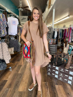 Latte HiLo Dress with Frayed Hem