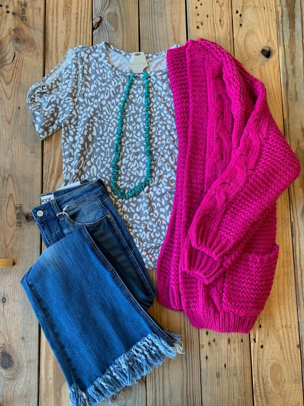 Magenta Cable Knit Cardigan