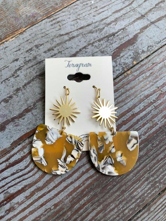 Mustard Acrylic Starburst earrings - Ariels Promise