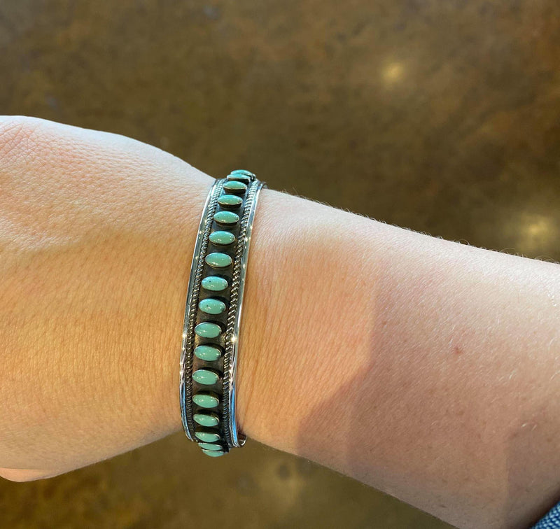 Sterling and Turquoise Oval Stone Cuff