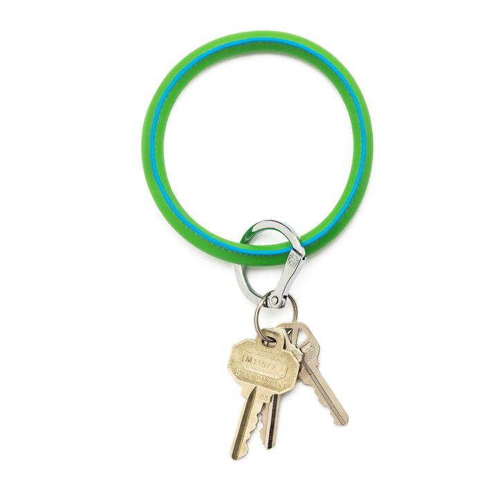 in the grass leather big-O keyring