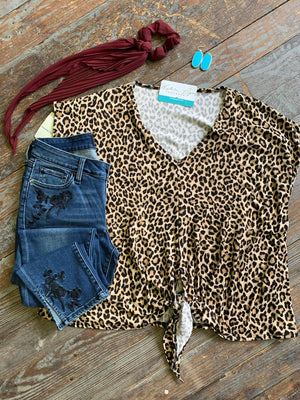 Leopard V Neck Knot Top
