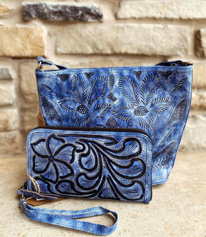 Distressed Periwinkle Tooled Wristlet
