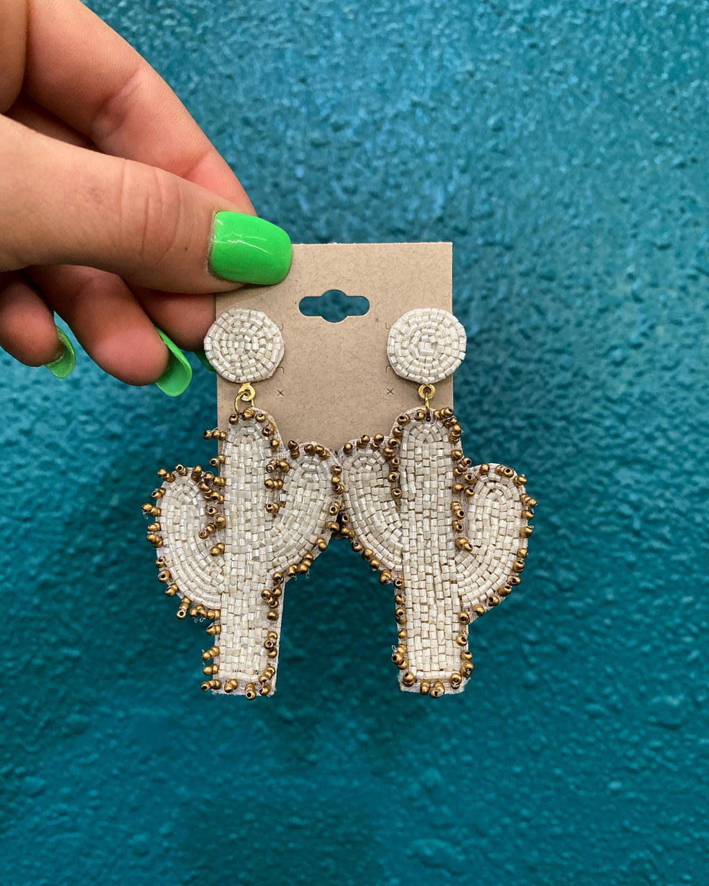 Seed Bead Cactus Earrings