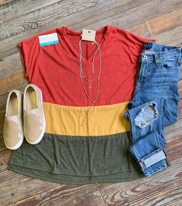 Colorblock vneck top