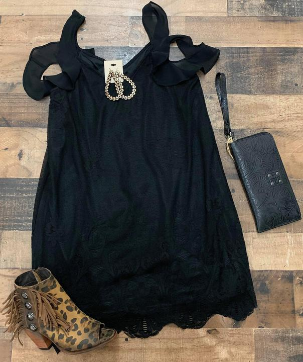 Black lace dress with ruffle detail