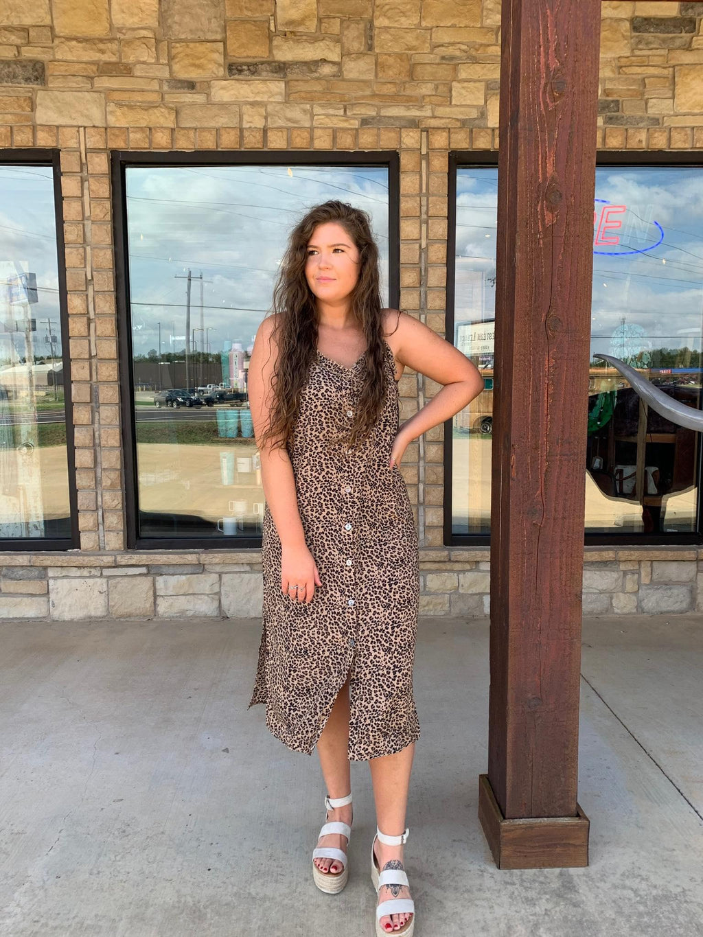 Leopard Midi Dress with Ruffle and Button Details