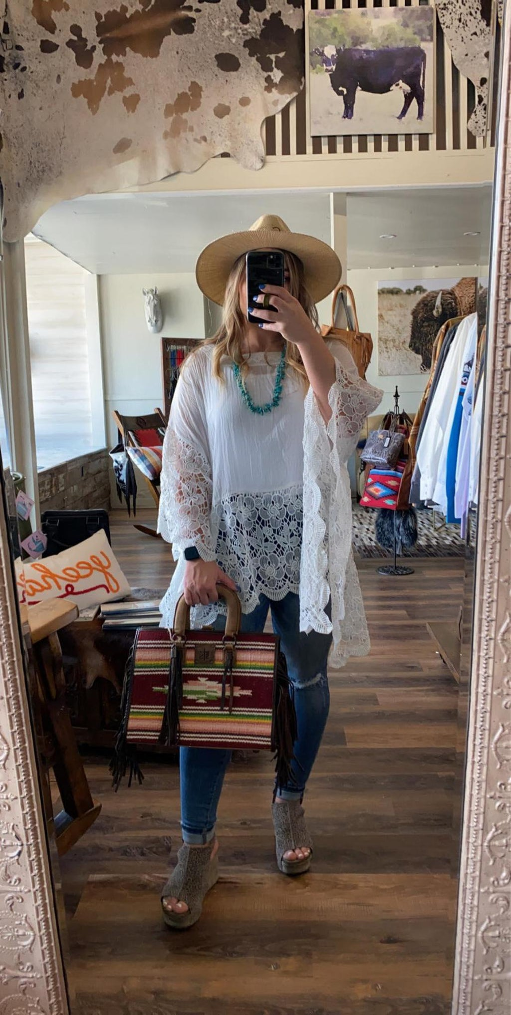 Square Lace Poncho Top