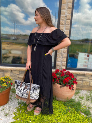 Black Off Shoulder Maxi with Lace Hem