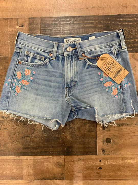 Lucky embroidered cut off shorts