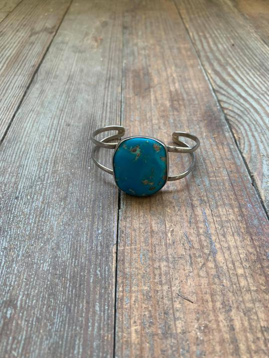 Large stone turquoise and sterling cuff