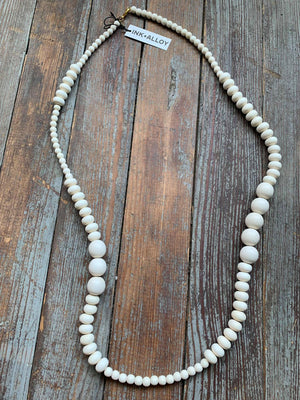 "white wood long single strand necklace 44"" Ink + Alloy"