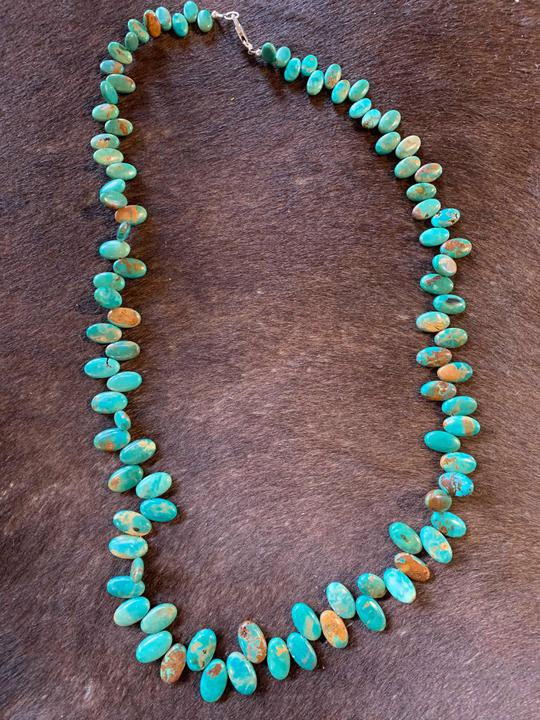 Oval turquoise necklace- genuine stone/sterling hardware