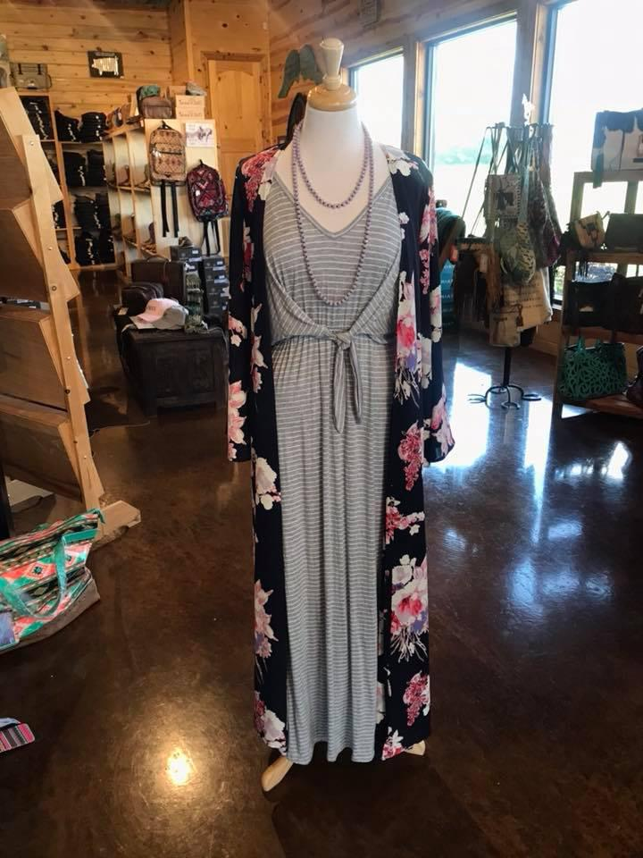 Grey Stripe Maxi with Knot