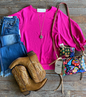 Hot Pink 3/4 Sleeve Blouse with Ruffle