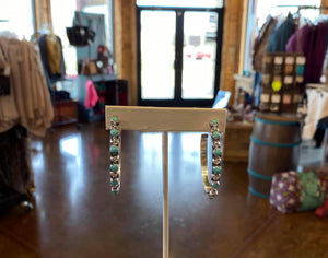 Turquoise and Sterling Hoops