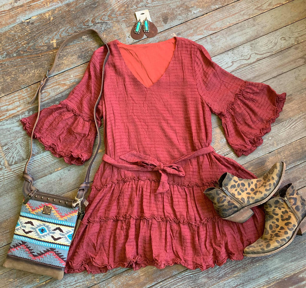 Marsala Tiered 3/4 sleeve dress