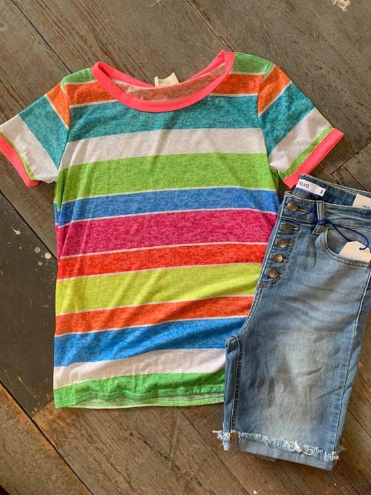 Bright stripe crew neck top