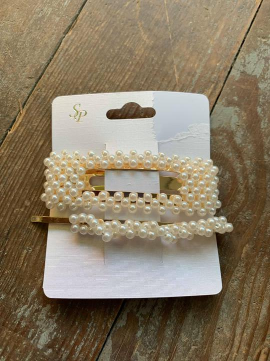 pearl rectangle hair clip & pin set