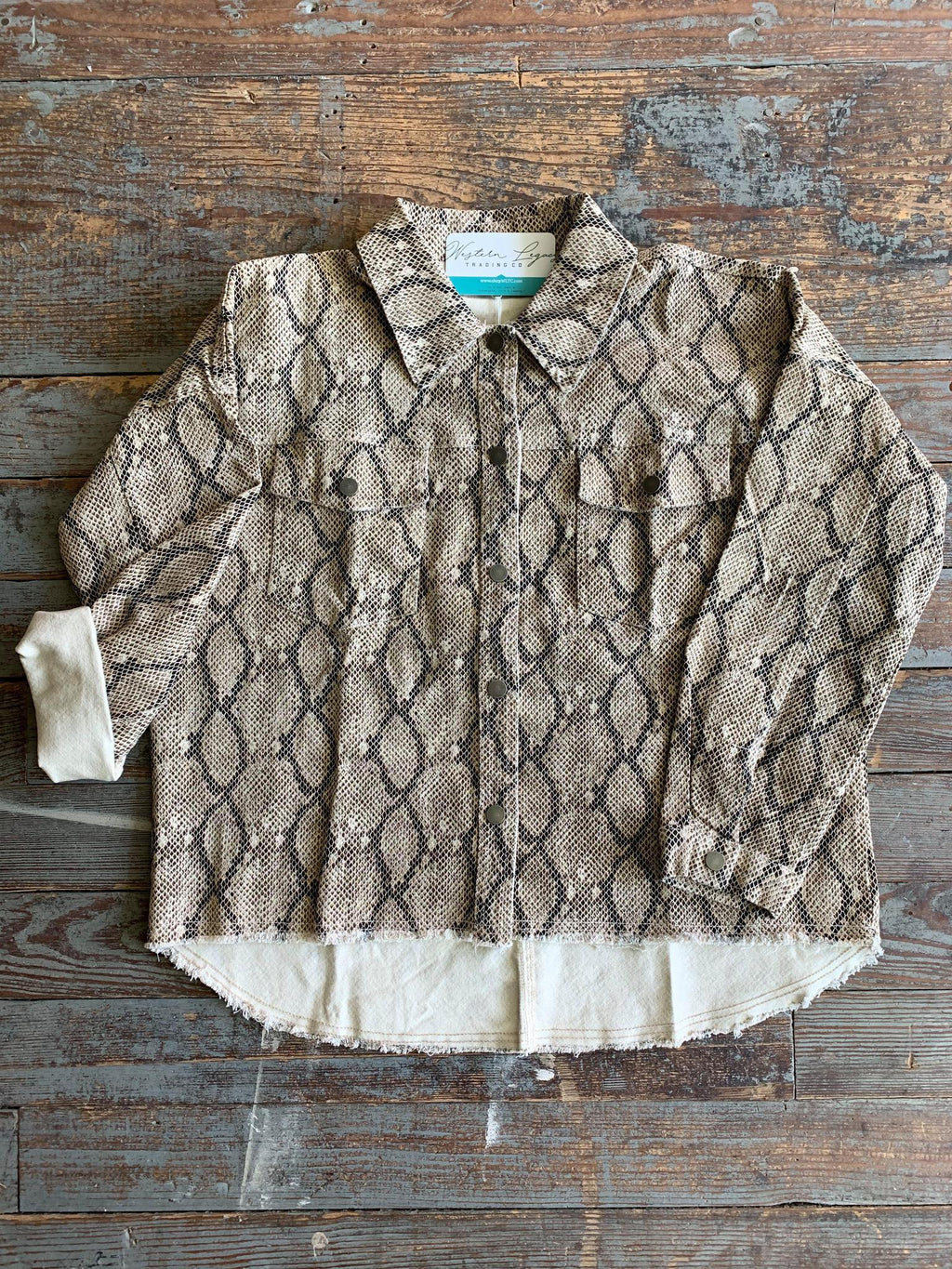 Snakeskin Distressed Shirt-jacket