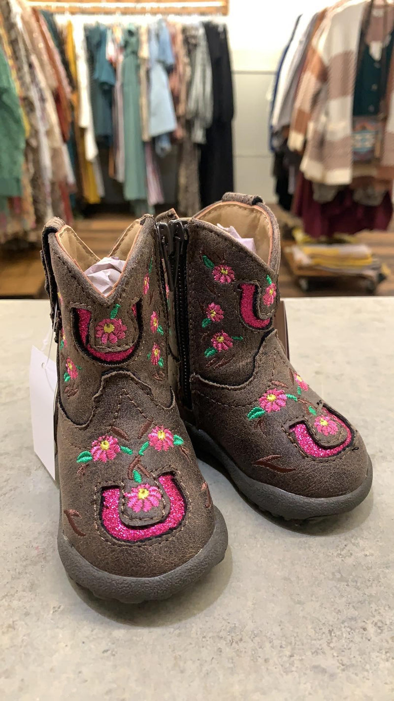 Pink Glitter Horseshoe Cowbaby boots