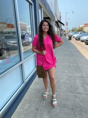 Hot Pink Knot Vneck Dress
