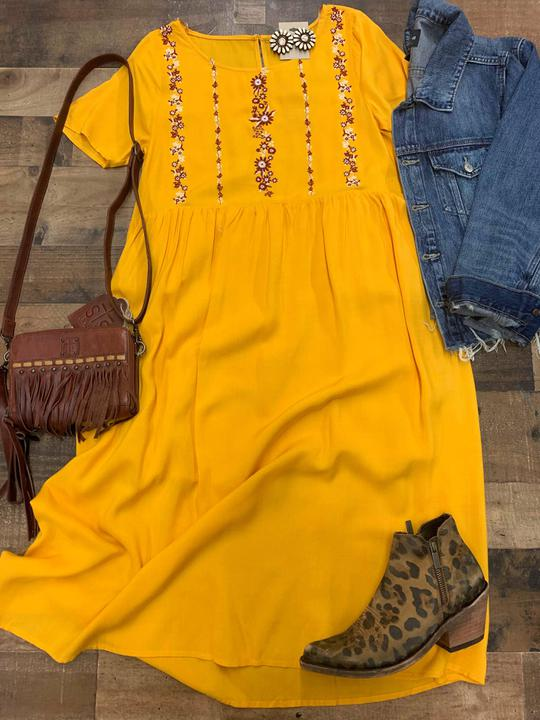 Mustard embroidered midi dress