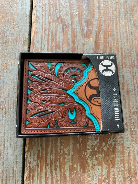 1779138 dark br tooled cutout wallet w turquoise