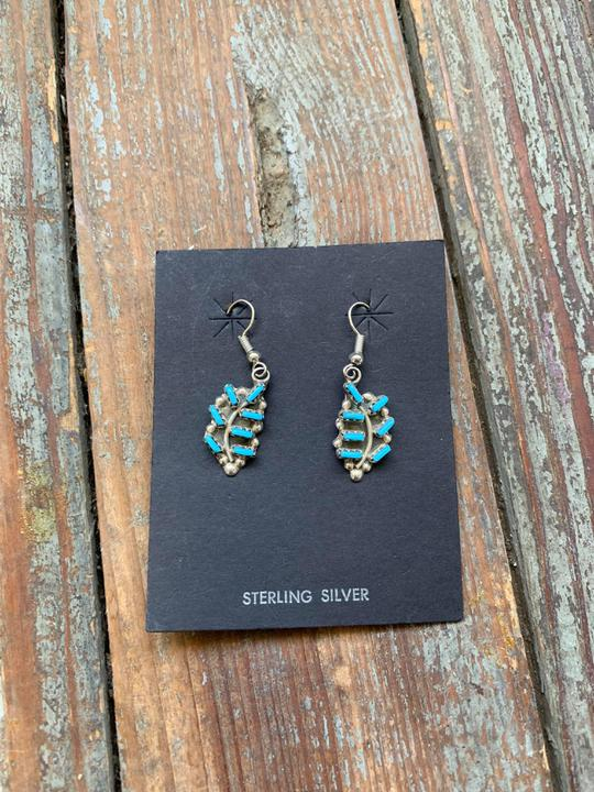 Turquoise & sterling drop earrings 7 stone