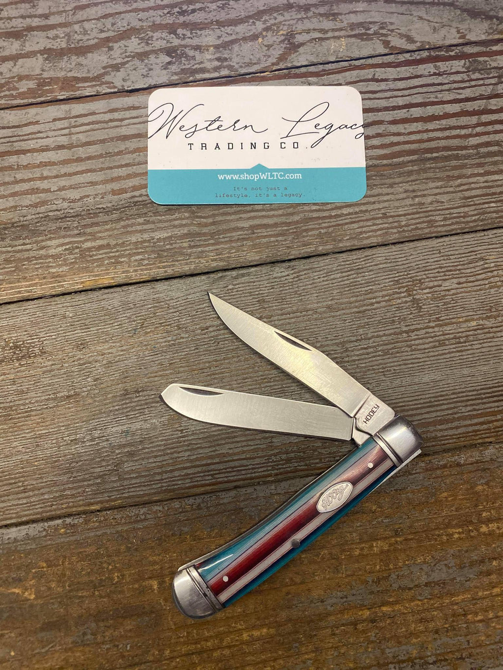 Turquoise and Red Hooey Trapper Knife