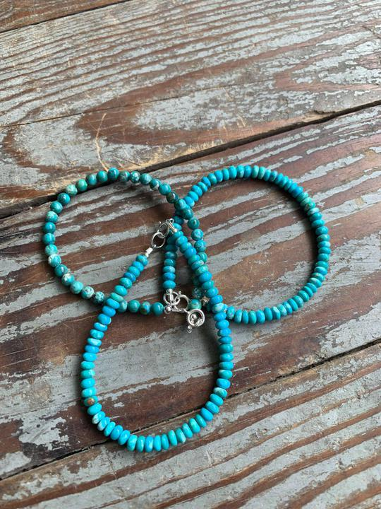 dainty turquoise bracelet with sterling hardware